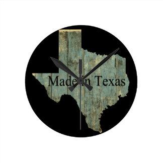 Texas-Staats-Karten-schroffe Bauholz-Wand-Uhr Runde Wanduhr