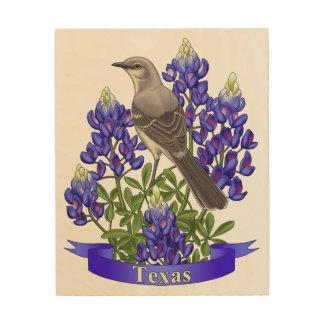 Texas-Staats-Spottdrossel u. Bluebonnet-Blume Holzdruck