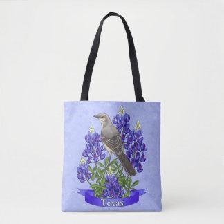 Texas-Staats-Spottdrossel u. Bluebonnet-Blume Tasche