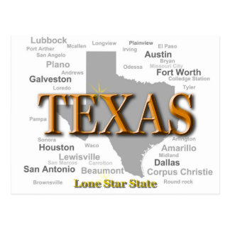 Texas-Staatsstolz-Karten-Silhouette Postkarte