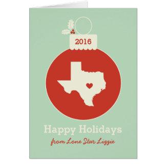Texas State Christmas Bauble Heart Holiday Card Karte
