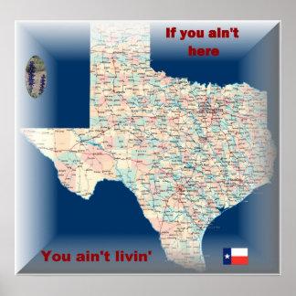 Texas-Straßekarte Poster