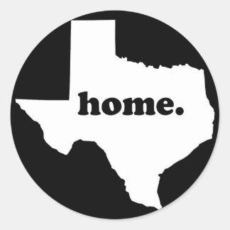 Texas-Zuhause-Version 2 schwarz u. Weiß Runder Aufkleber