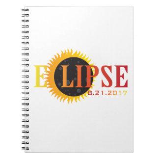 Text-abstrakte Illustration der Solareklipse-2017 Spiral Notizblock