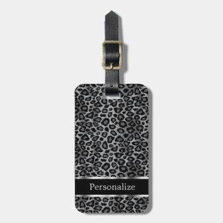 Text des grauer Leopard-Tierdruck-  DIY Gepäckanhänger