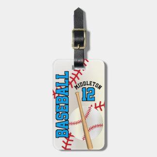Text des Sport-Baseball-| DIY - Blau Gepäckanhänger