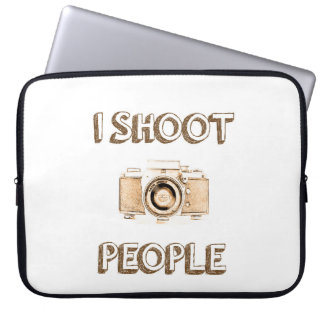Text-Foto-Kameraphotograph der Triebleute lustiger Laptop Sleeve