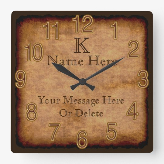 text k sten der personalisiertes monogramm vintage quadratische wanduhr zazzle. Black Bedroom Furniture Sets. Home Design Ideas