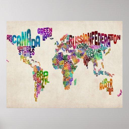 Textabbildung der Welt Poster