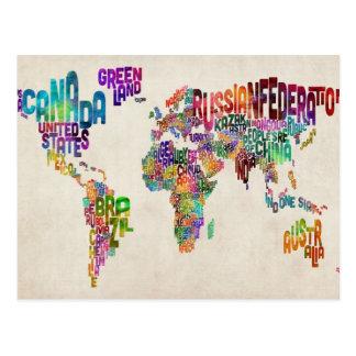 Textabbildung der Welt Postkarte