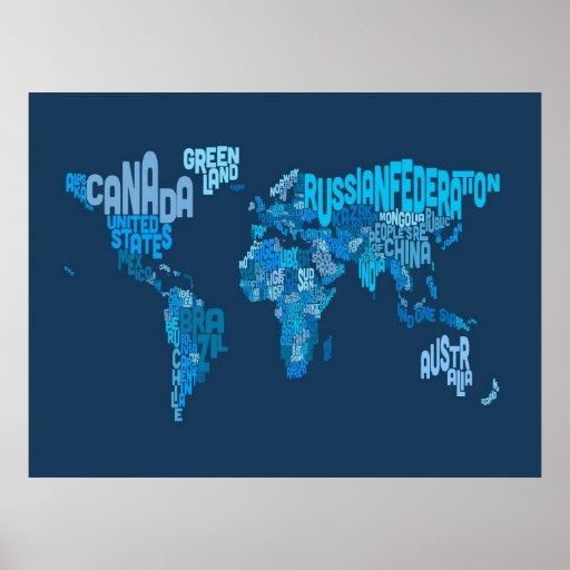 Textabbildung der Weltkarte Poster