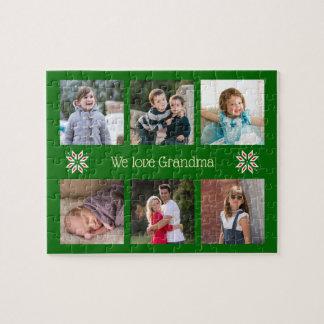 Textgrün-Rahmenweihnachten der Familien-Fotos Puzzle