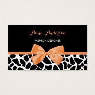 Textilhändler-Girly Giraffen-Druck-orange Visitenkarte