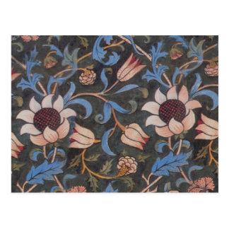 Textilmuster William Morriss Evenlode Postkarte