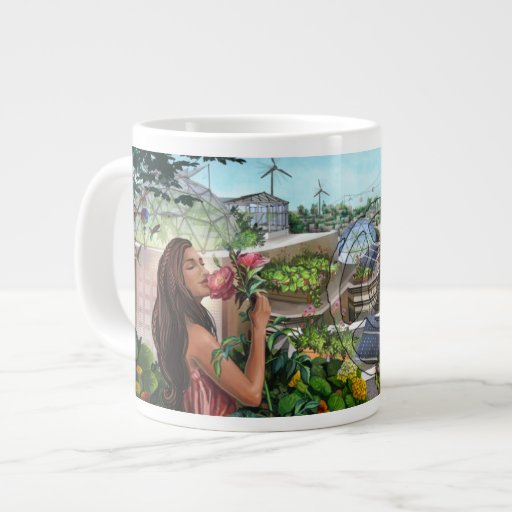 TFST Blumen-Mädchen-Tunnel-bohrwagenTasse Extragroße Tassen
