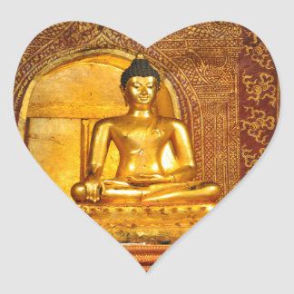 Thailand Buddha Herz-Aufkleber