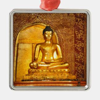 Thailand Buddha Quadratisches Silberfarbenes Ornament