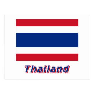 Thailand-Flagge mit Namen Postkarte