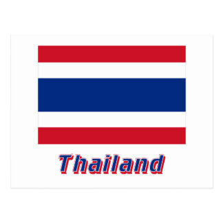 Thailand-Flagge mit Namen Postkarten