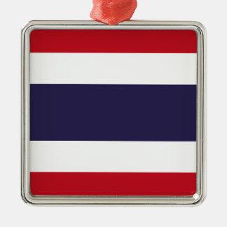 Thailand-Flagge Quadratisches Silberfarbenes Ornament