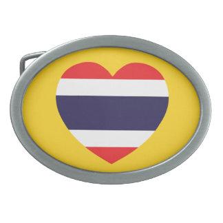 Thailand-Herz-Flagge Ovale Gürtelschnallen