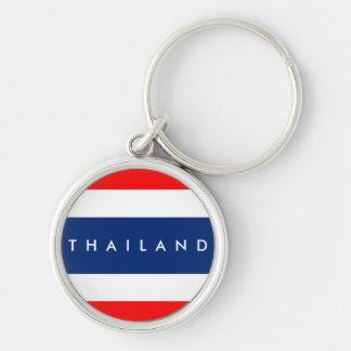 Thailand-Landesflaggenationssymbol-Namentext Schlüsselanhänger