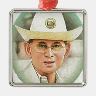 Thailändischer König Bhumibol Adulyadej - Quadratisches Silberfarbenes Ornament