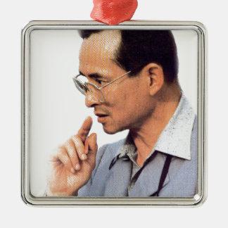Thailändischer König Bhumibol Adulyadej - Silbernes Ornament
