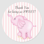 Thank You Pink Elephant Baby Shower Round Stickers