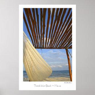 Thatch-Hütten-Strand ~ Mexiko ~ Reise-Plakat Poster