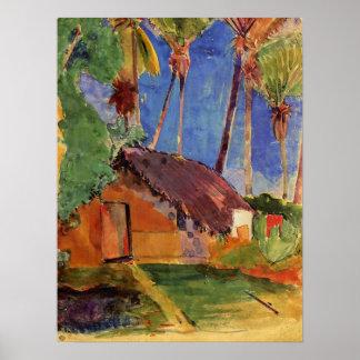 """""""Thatched Hütte unter Palmen-"""" - Paul Gauguin-Druc Poster"""
