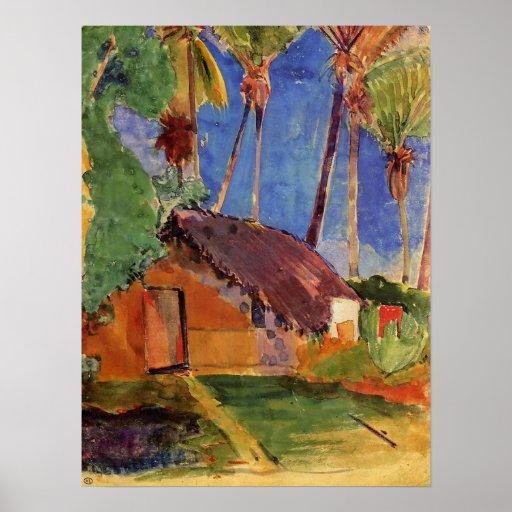 """""""Thatched Hütte unter Palmen-"""" - Paul Gauguin-Druc Plakate"""
