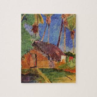 """""""Thatched Hütte unter Palmen"""" - Paul Gauguin Puzzle"""