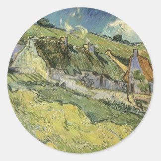 Thatched Hütten durch Vincent van Gogh Runder Aufkleber