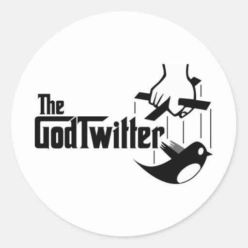 The GodTwitter Round Sticker