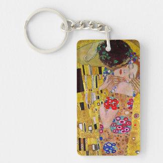The Kiss by Gustav Klimt, Vintage Art Nouveau Beidseitiger Rechteckiger Acryl Schlüsselanhänger