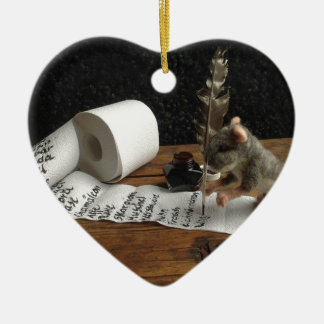 "The Mouse and her ""to do list"" Keramik Herz-Ornament"