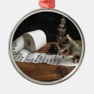 """The Mouse and her """"to do list"""" Rundes Silberfarbenes Ornament"""