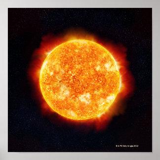 The Sun, das Sonneneruptionen gegen einen Stern ze Poster