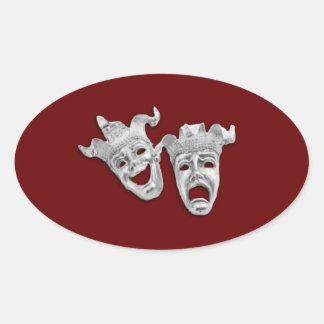 Theater-Masken entwerfen Kastanienbraun Ovaler Aufkleber