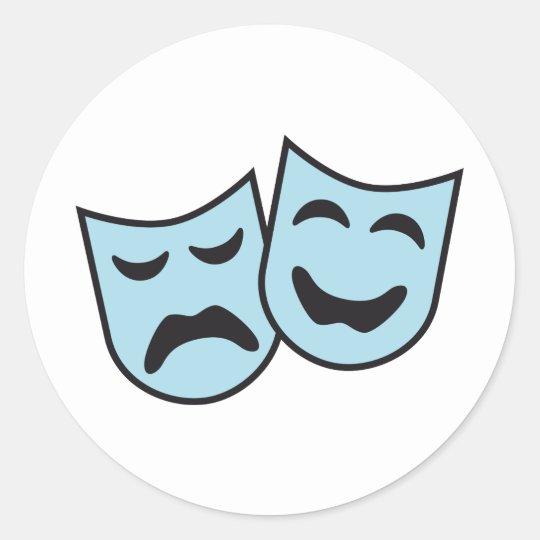 theatre mask runder aufkleber