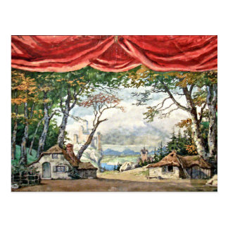 THEATRE STAGE BACKDROP DECOR, BALLETT GISELLE GIFT POSTKARTE