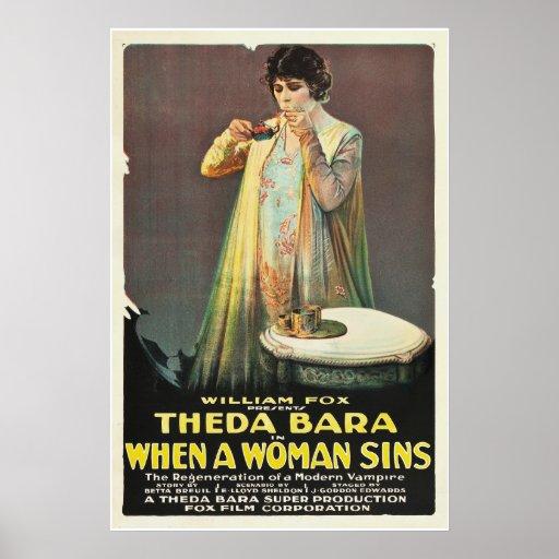 """Theda Bara """"wenn eine Frau Sins """" Plakat"""