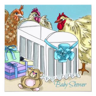 Themenorientierte Babypartyeinladung des Huhns Quadratische 13,3 Cm Einladungskarte
