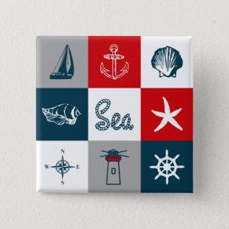 Themenorientierter nautischentwurf quadratischer button 5,1 cm