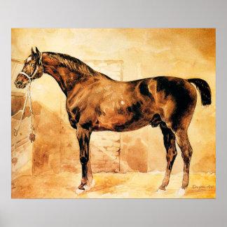 Théodore Géricault - englisches Pferd im Stall Poster