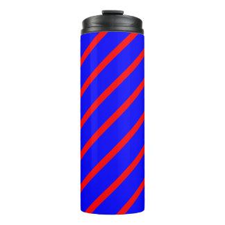Thermisches Trommel-Königsblau mit roten Streifen Thermosbecher