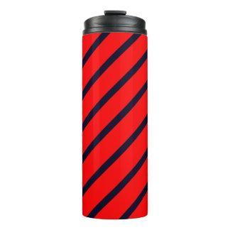 Thermisches Trommel-Rot mit dunkelblauen Streifen Thermosbecher