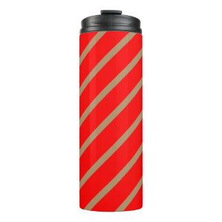 Thermisches Trommel-Rot mit goldenen Streifen Thermosbecher