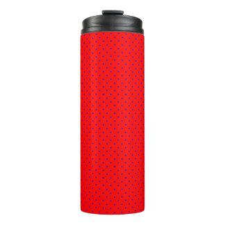Thermisches Trommel-Rot mit Königsblau-Punkten Thermosbecher